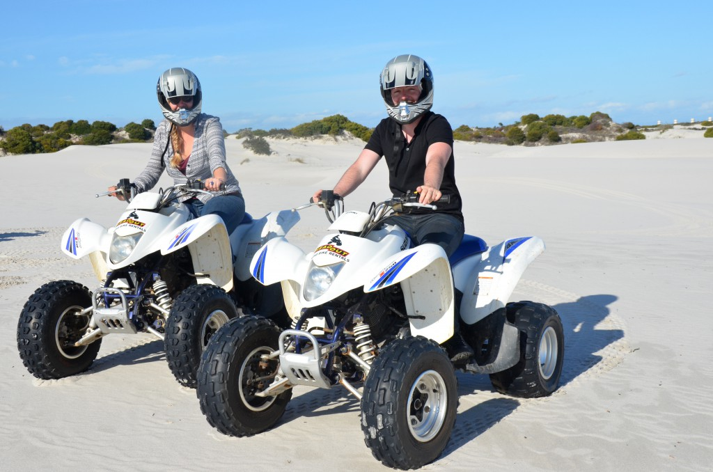 Quad biking in white dunes